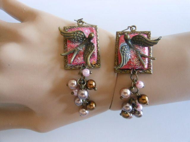 **** Boucles d'oreilles oiseaux avec perles **** : Boucles d'oreille par ysatis