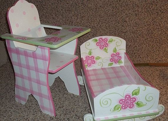Doll Furniture Baby Dolls Cradle High Chairs Toys Doll