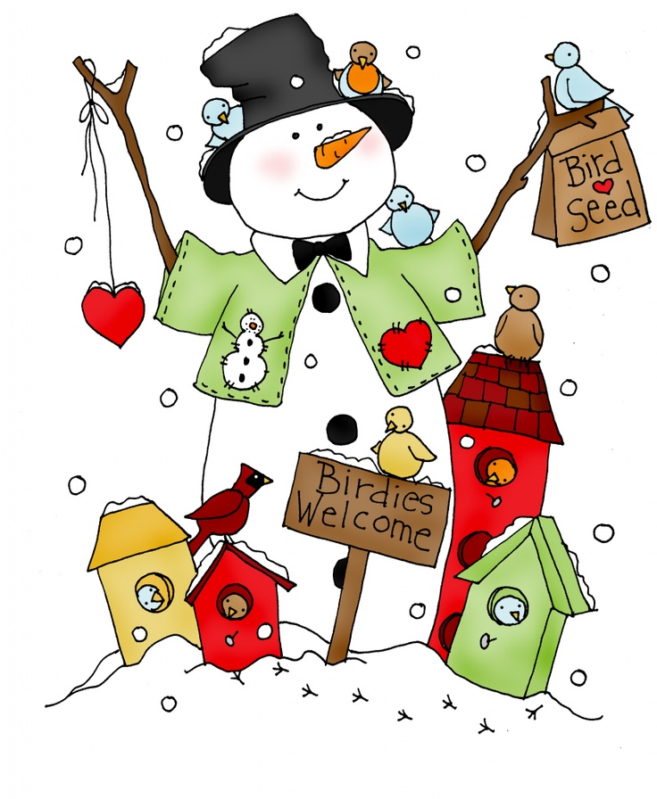 Birdies Welcome Snowman color | Dearie Dolls Digi Stamps: