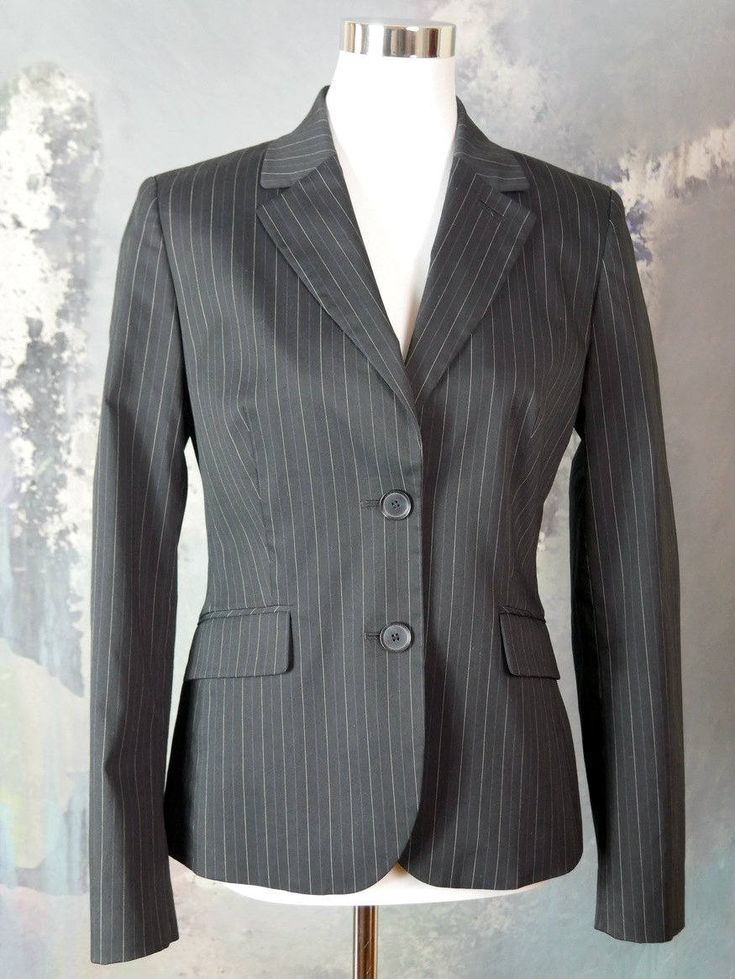 1990s Esprit Pinstriped Blazer, Women's Black Pinstripe Jacket, Short Blazer, Made in Germany, Professional Jacket: Size 8 US, Size 12 UK by YouLookAmazing on Etsy