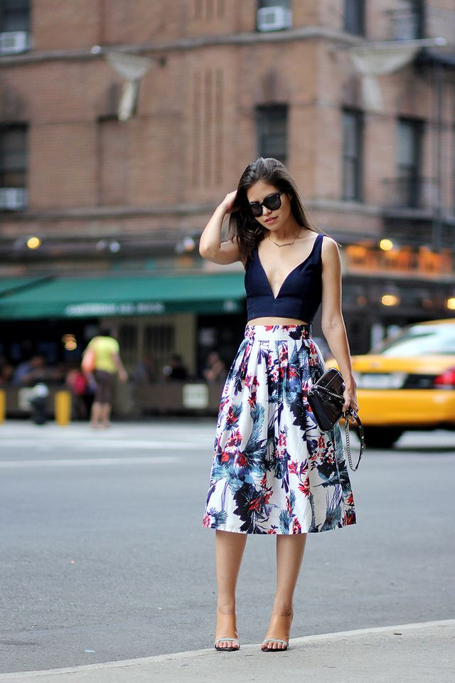crop top, midi skirt, deep v-neck crop top, floral skirt, Rebecca Minkoff nude mules