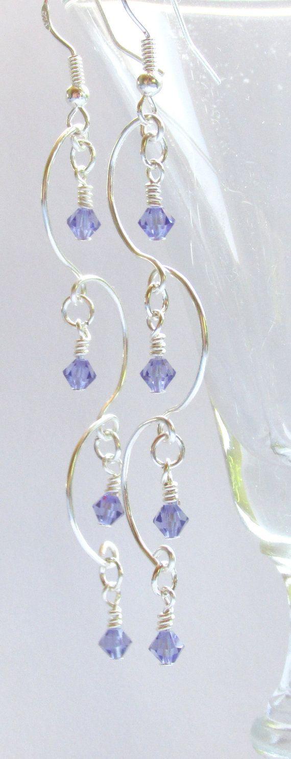 Chandelier Earrings, Tanzanite Beaded Earrings, Purple & Silver Earrings, Prom 2015, Bridal Jewelry, Bridesmaid Gift, Birthstone Jewelry  $14.75