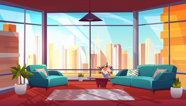 Download Living Room With Panoramic Window Interior For Free In