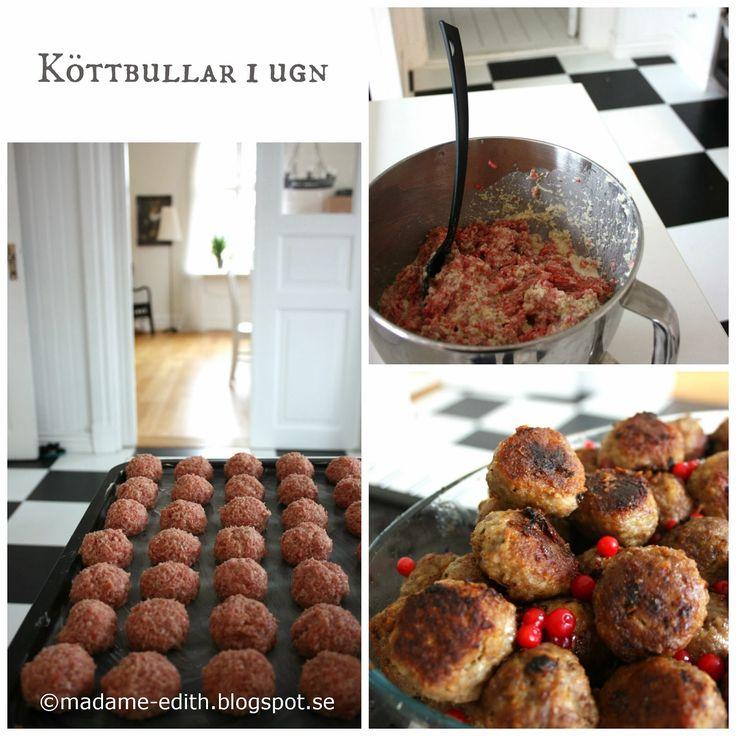 Köttbullar i ugn - Smidigt sätt att göra många köttbullar som sedan kan frysas ned.     1 kg blandfärs   Här i Småland innebär det 50% nö...