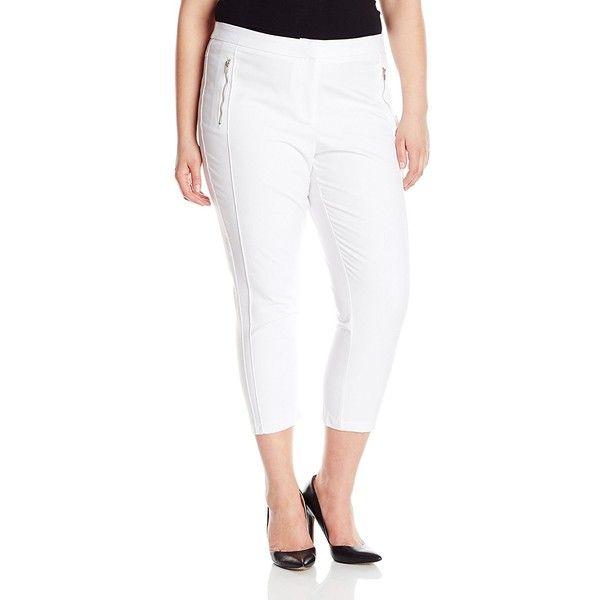 Modamix Women's Plus-Size Cigarette Pant ($52) ❤ liked on Polyvore featuring pants, plus size, white cigarette pants, white cigarette trousers, white trousers, long pants and cigarette trousers