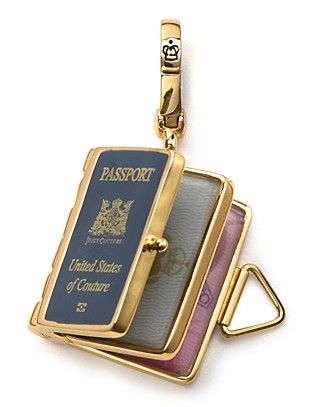 Juicy Couture passport charm for a charm bracelet.