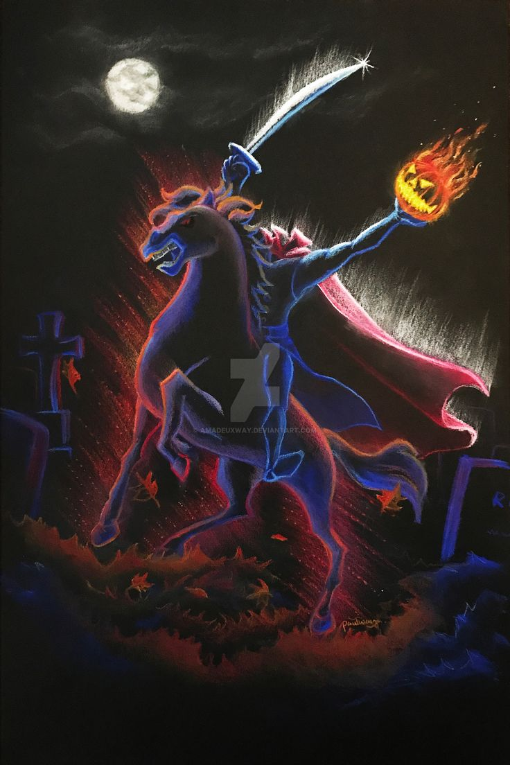The Headless Horseman (Chalk Art by AmadeuxWay @deviantART) #TheLegendOfSleepyHollow #TheAdventuresOfIchabodAndMrToad