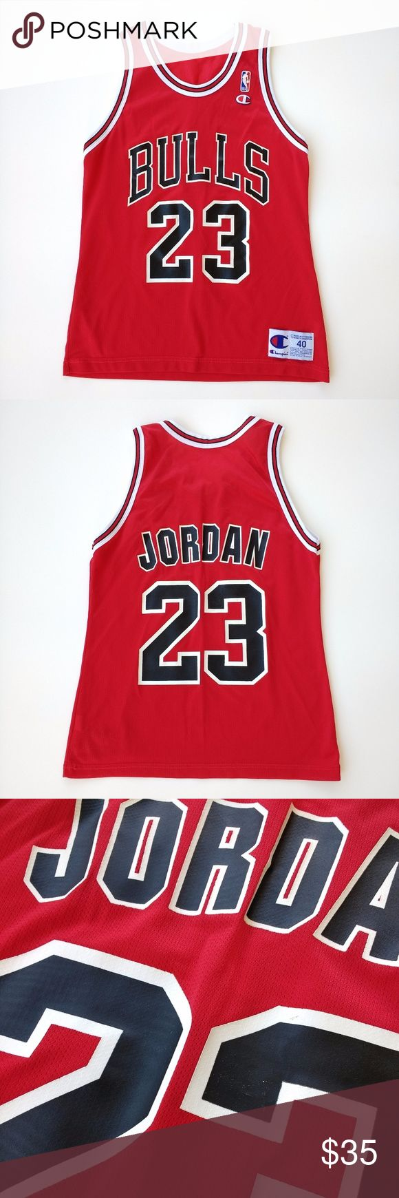 Vintage Chicago Bulls Michael Jordan Jersey sz 40 Vintage Champion Chicago Bulls Michael Jordan Jersey sz 40  Garment is in good pre-owned/worn condition - ink on back is starting to chip/crack Champion Shirts