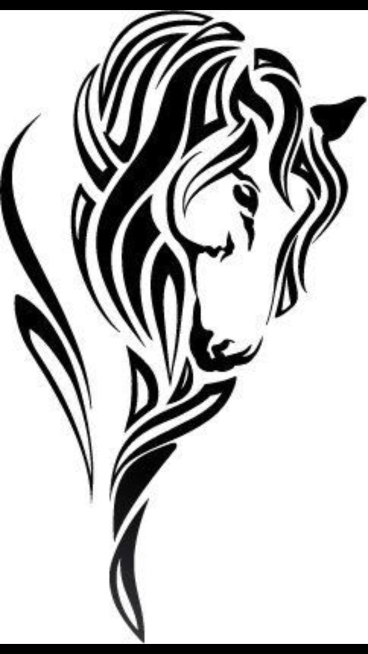It's just a graphic of Tactueux Tribal Horse Drawing