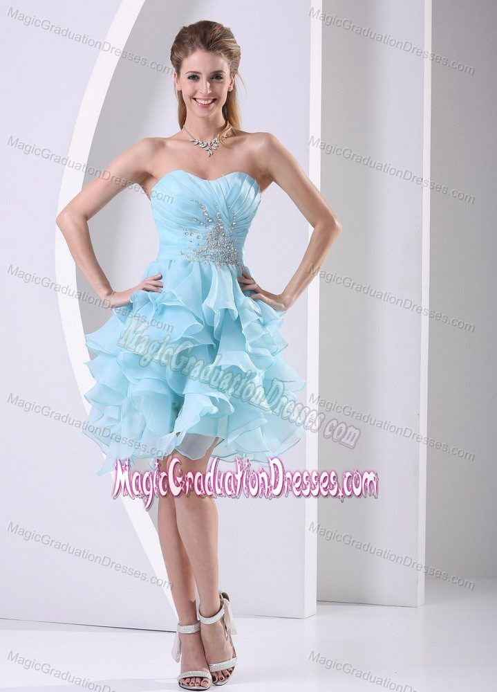 Blue Sweetheart Ruched Short-Length Graduation Dress with Appliques and Ruffles