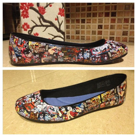 Custom DC Comic Flats or anything by PrincessEmmaLees on Etsy,