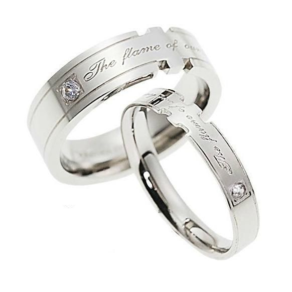 personalized his hers matching unique couples promise rings wedding bands - Personalized Wedding Rings