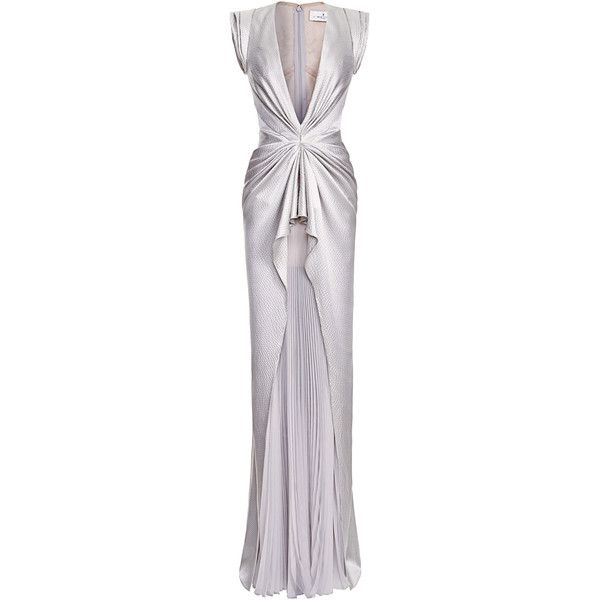 J. Mendel Sleeveless V-Neck Gown With Pleated Skirt found on Polyvore