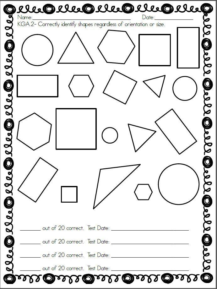 Kindergarten shapes assessment. Common Core standard K.G.A
