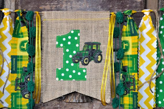 John Deere fabric first birthday highchair rag by GiddyGumdrops