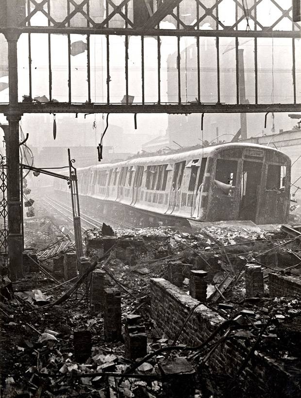 Wartime view of the #MetropolitanLine platforms at Moorgate station, showing the devastation caused by air raids