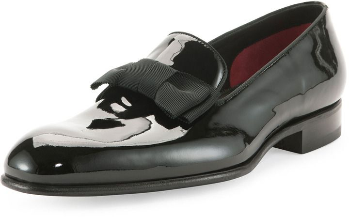 $1,210, Black Leather Loafers: Tom Ford Charles Patent Leather Loafer Black. Sold by Neiman Marcus. Click for more info: https://lookastic.com/men/shop_items/67464/redirect