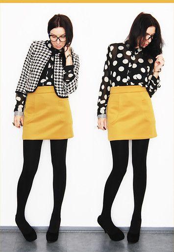 Yellow skirt. Polka dot top.