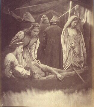 JULIA MARGARET CAMERON's King Arthur wounded lying in a barge (from 'Idylls of the King' by Alfred Tennyson)