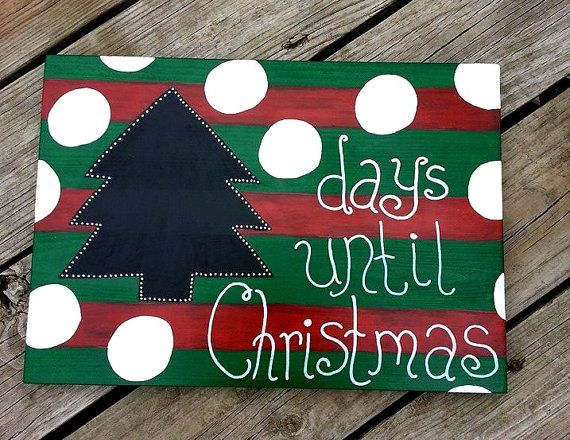Countdown to Christmas Wooden Chalkboard Sign Holiday Red Green Days Until Christmas Tree