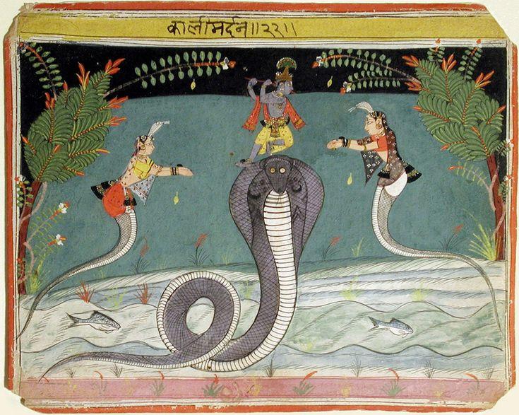 Kaliya Damana. Suite: Bhagavata Purana, Opaque watercolor on paper, Malwa (Mandu), c. 1645, The San Diego Museum of Art