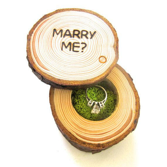 Wedding Proposal Ring Box Marry Me Proposal by EndGrainWoodShoppe