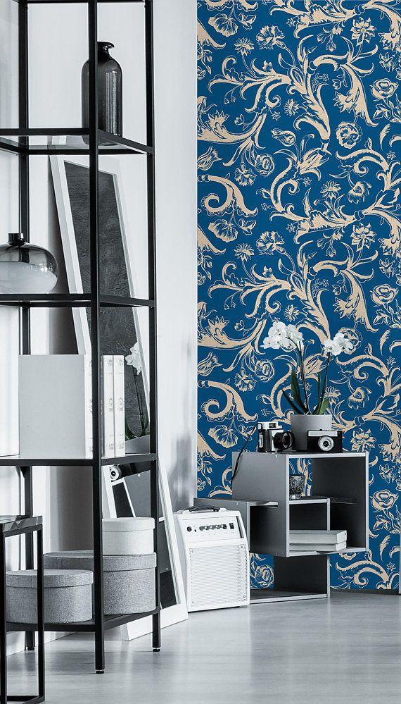 Removable Wallpaper Self Adhesive Wallpaper China Blue Flower Etsy Self Adhesive Wallpaper Removable Wallpaper Wallpaper