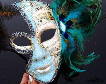 Máscara de la mascarada de pluma máscara de la por 4everstore