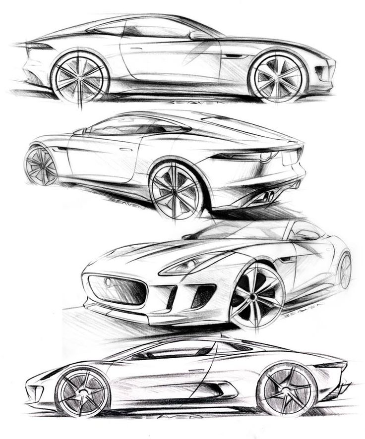 Matthew Beaven's Jaguar concept/production pencil sketches - F-Type Coupe, C-X16…