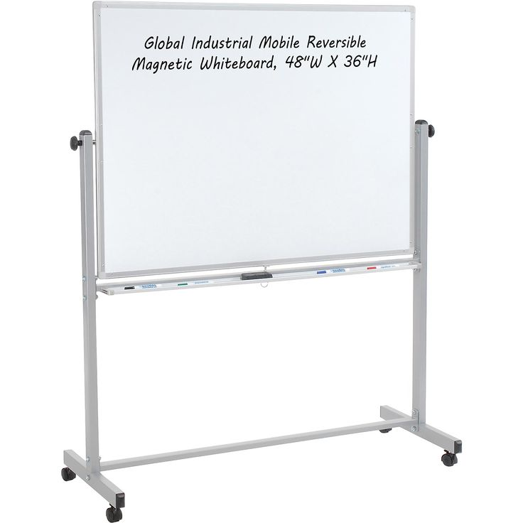 Whiteboards & Bulletin Boards | Mobile Whiteboards | Rolling Magnetic Dry Erase Whiteboard - Double Sided Reversible - 48 x 36 | B444997 - GlobalIndustrial.com