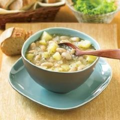Herbed White Bean Soup:  Herb and roasted garlic flavours give a lift to this warming soup. A perfect accompaniment to roasted poultry, or add bread and salad for a simple meal.