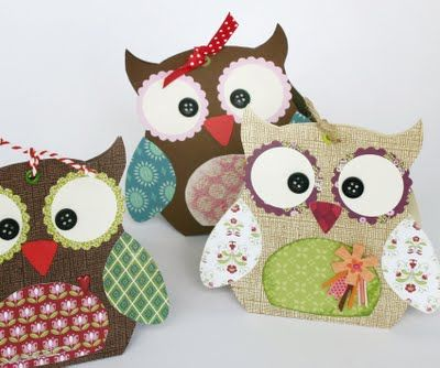 Owl gift bag with template
