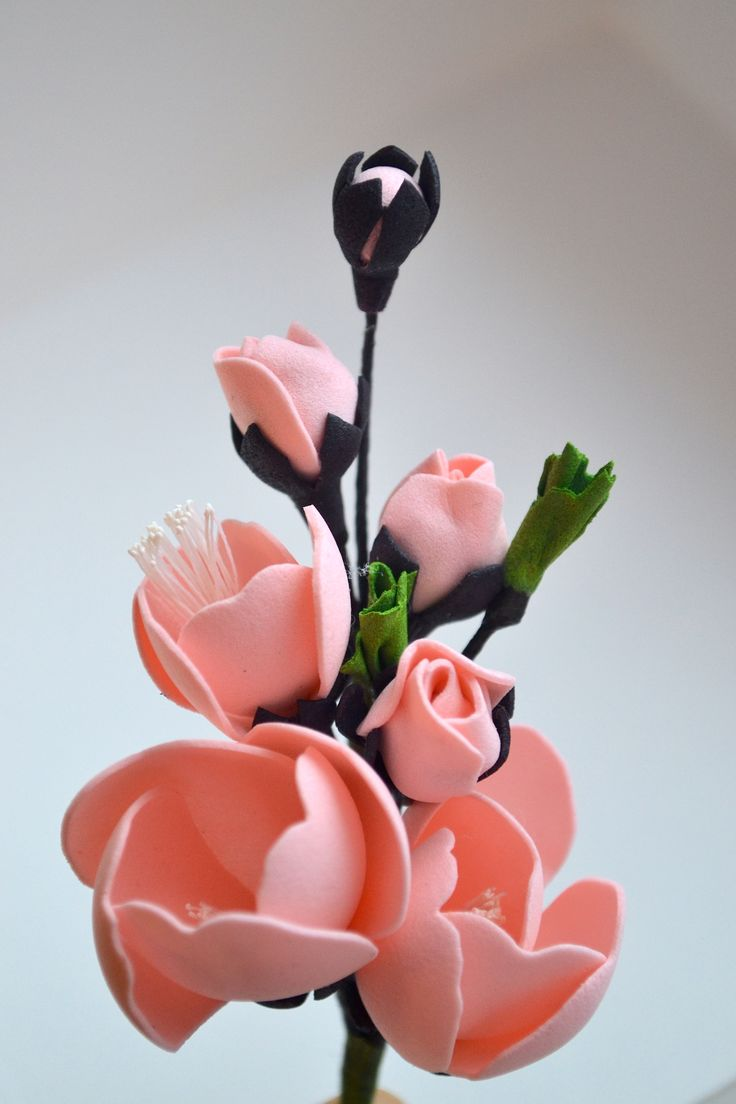 Цветы персика из фоамирана