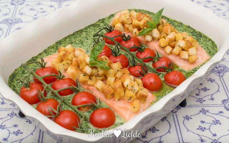 Zalm ovenschotel met spinazie Boursin - Keuken♥Liefde