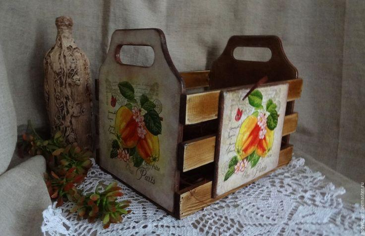 Купить Короб ящик для кухни Наливные яблоки - коричневый, ящик для хранения, ящик деревянный