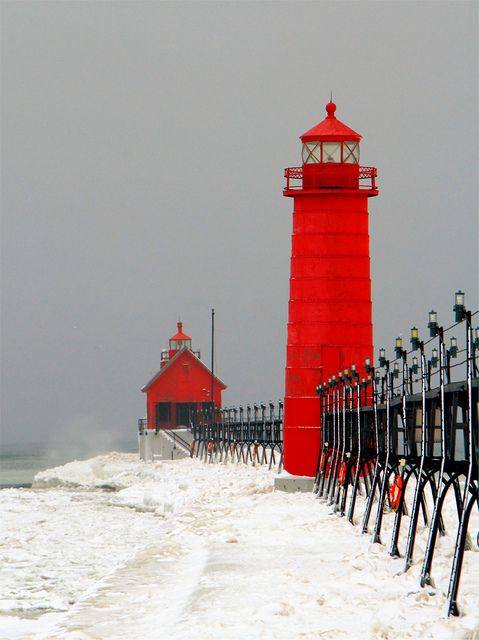 Christopher Kierkus, Winter on the Big Lake (Vertical) Red  Gray Lighthouse Water Waves Photography