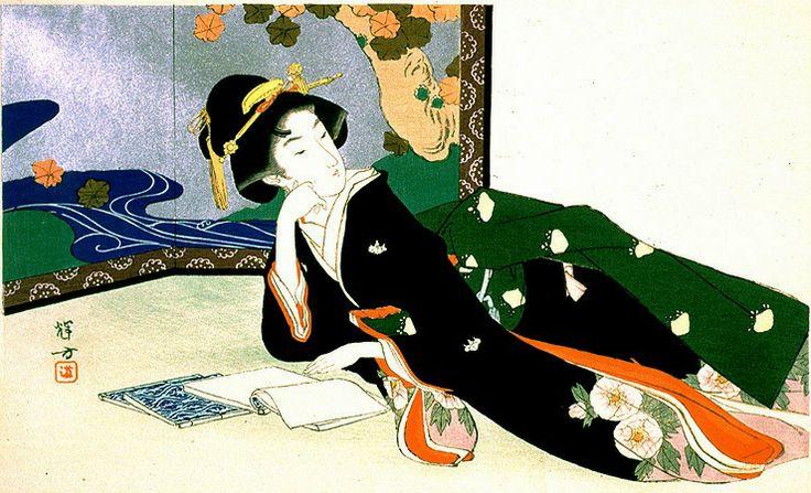 Senhora lendo, s/d Ikeda Terukata (Japão, 1883-1921) Xilogravura policromada