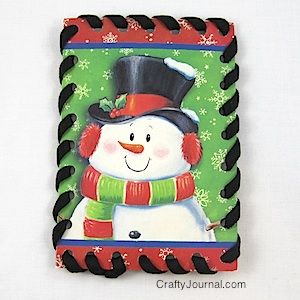 Sewing cards from greeting cards.