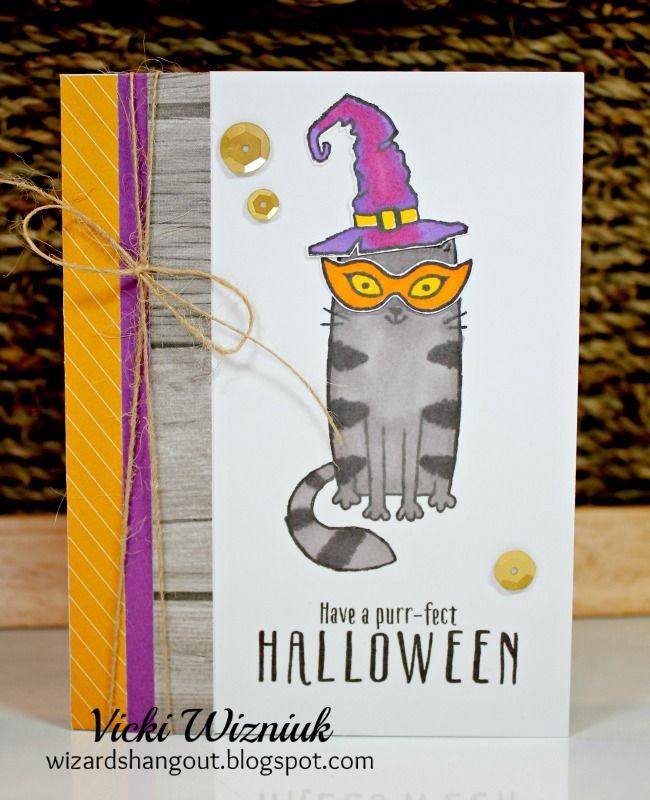 Wizard's Hangout: Purr-fect Halloween - August Stamp of the Month - Adorable Sample Cards!