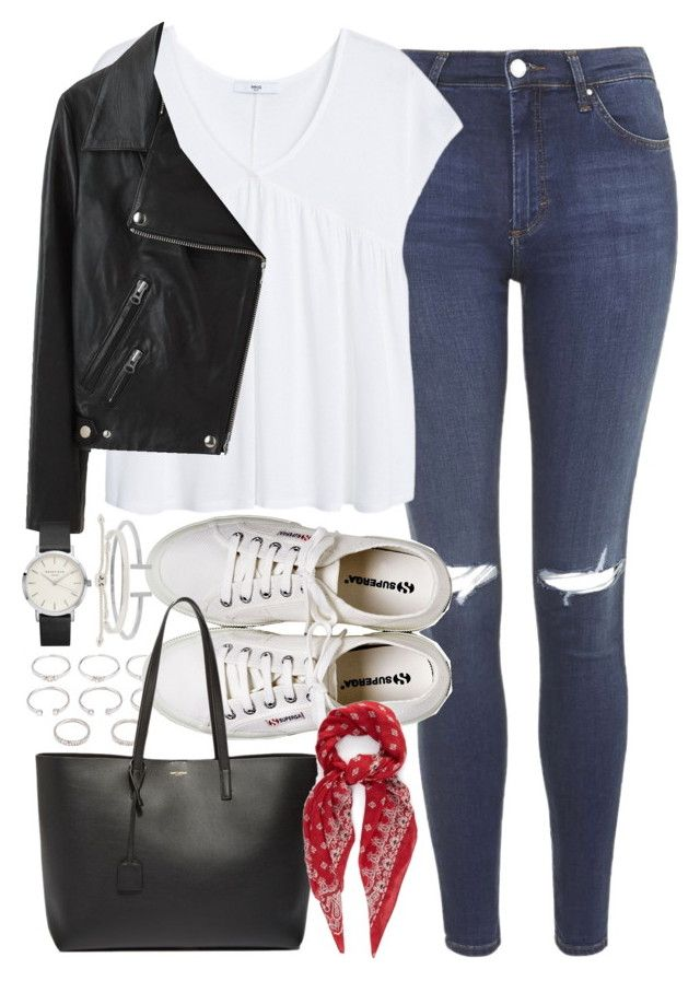 """""""Outfit with a leather jacket for university"""" by ferned on Polyvore featuring Topshop, MANGO, Forever 21, Acne Studios, Henri Bendel, Yves Saint Laurent, Humble Chic and Monica Vinader"""
