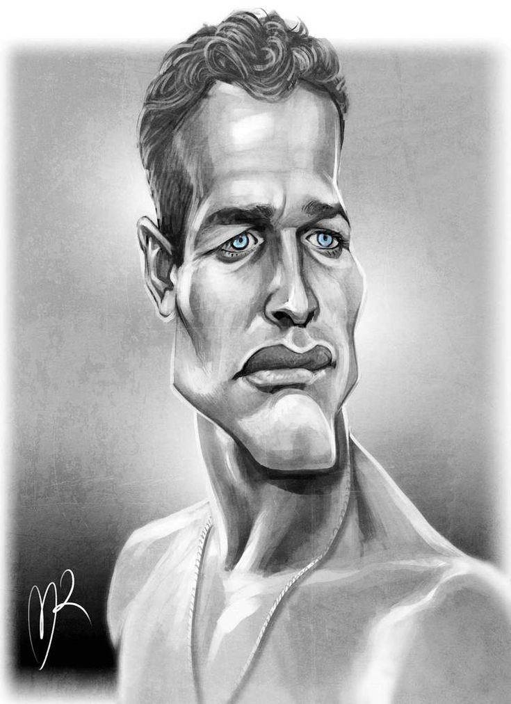 Paul Newman Caricature by Marzio Mariani. #Celebrity #Caricatures #Oddonkey