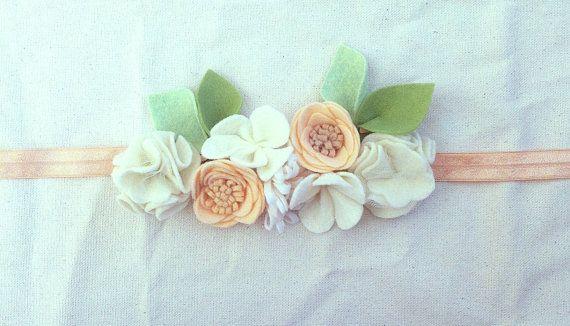 Felt Flower Crown // Mini Crown // Peaches by fancyfreefinery