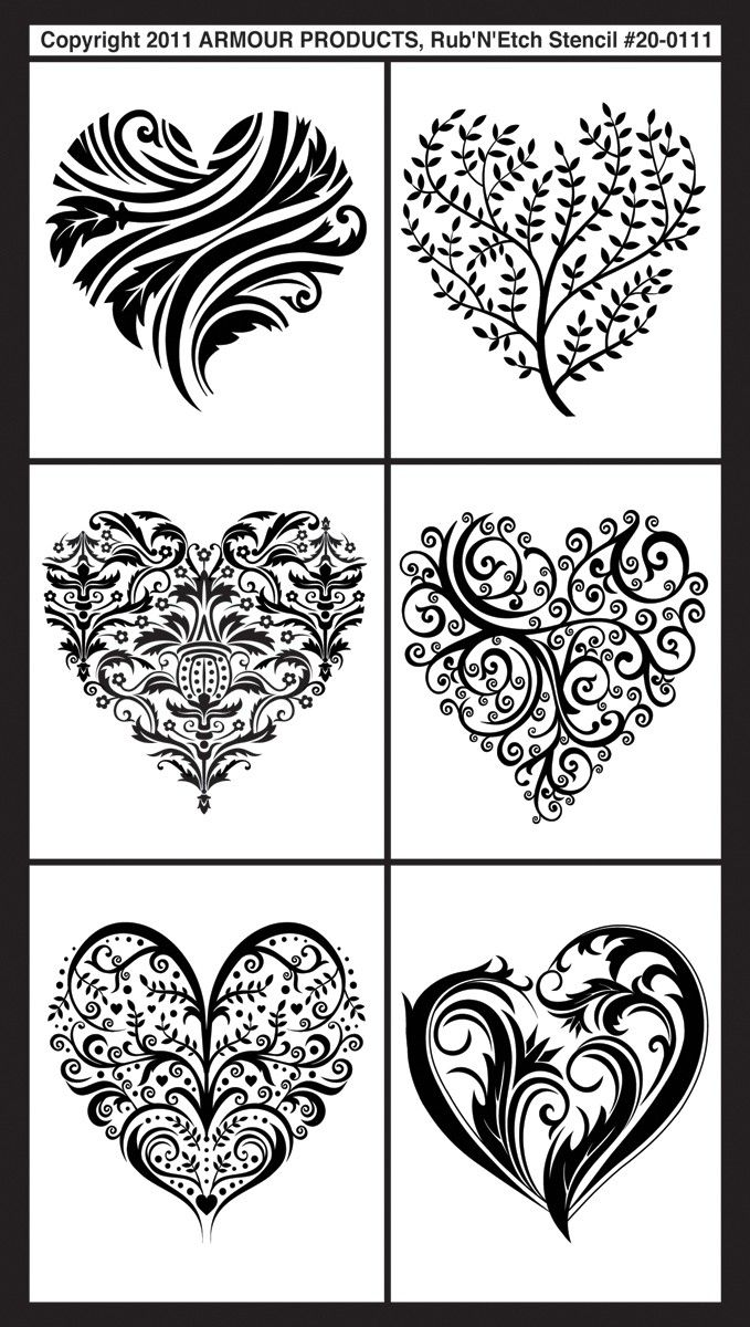 "Fancy Hearts Rub 'n' Etch Glass Etching Stencils 5""X8"" 1/Pkg 20R-0111"
