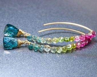Tourmaline Earrings, Watermelon Tourmaline Earrings Threader Earrings, Open Hoop Earrings Rubellite Pink Tourmaline Earrings Blue Tourmaline