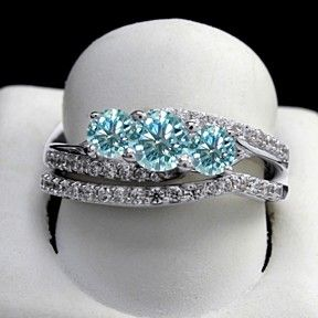 1 Ct Round Light Blue Moissanita Bridal Rings Set In 10K White Gold by JewelryHub on Opensky