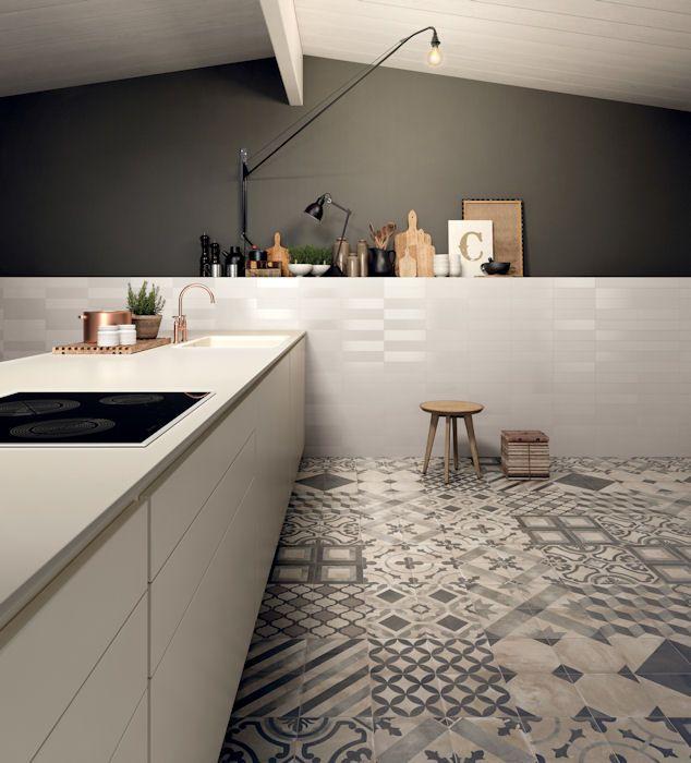 Casablanca Mono Decor Square tiles by Mandarin Stone kitchen design