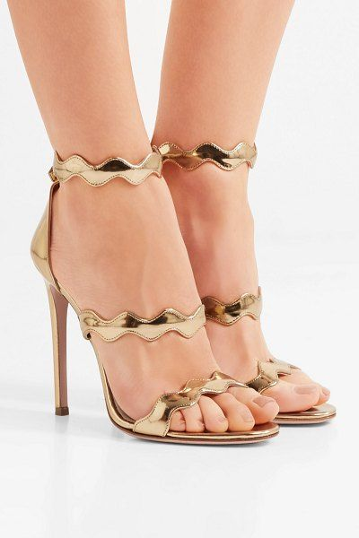 afe60c96e20088 Prada 115 Scalloped Metallic Leather Sandals in 2019