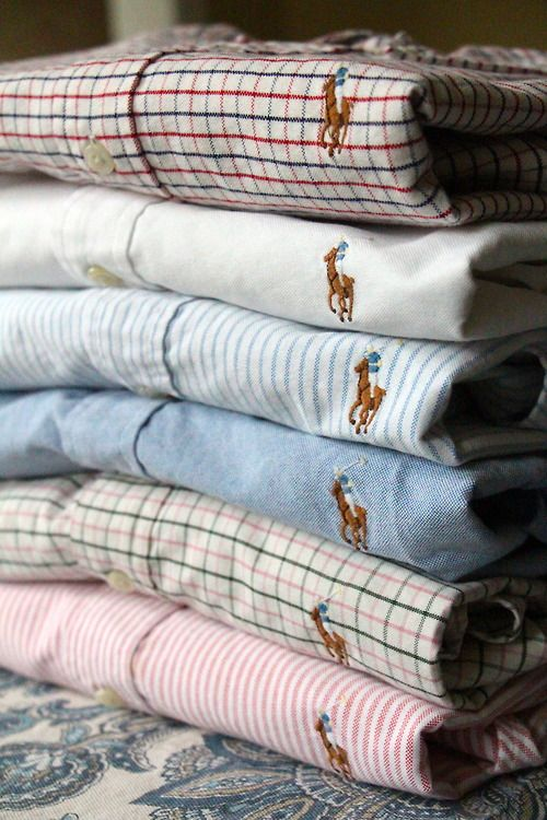 I like the brown old school Ralph Lauren Monogram here.  I think it gives the brand a heritage feel that is versatile and can be used in different styles from Gingham to Pinstripe to the classic blue Oxford.
