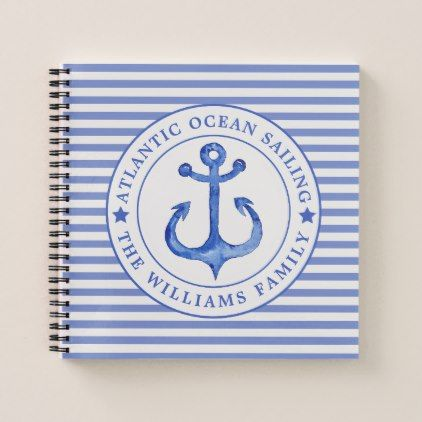 Nautical Anchor Navy Blue Striped Personalized Notebook - trendy gifts cool gift ideas customize