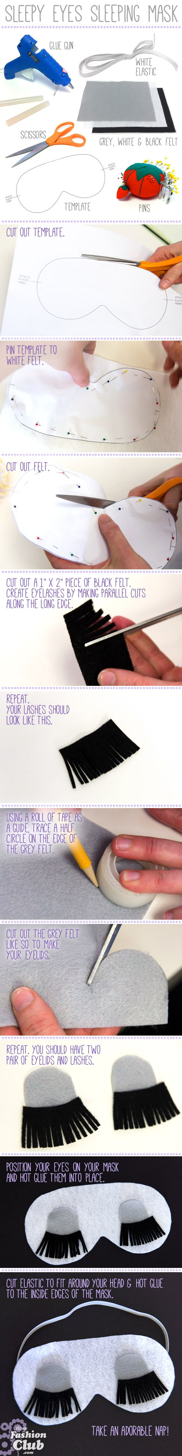 """DIY: Our Sleepy Eyes Sleeping Mask DIY is inspired by """"Breakfast at Tiffany's."""" Click on the image above for more DIYs and projects! #FIDM #FashionClub"""